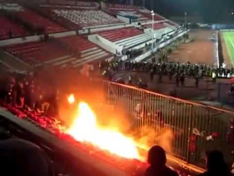 Пожар на футбольном матче Волга - Зенит