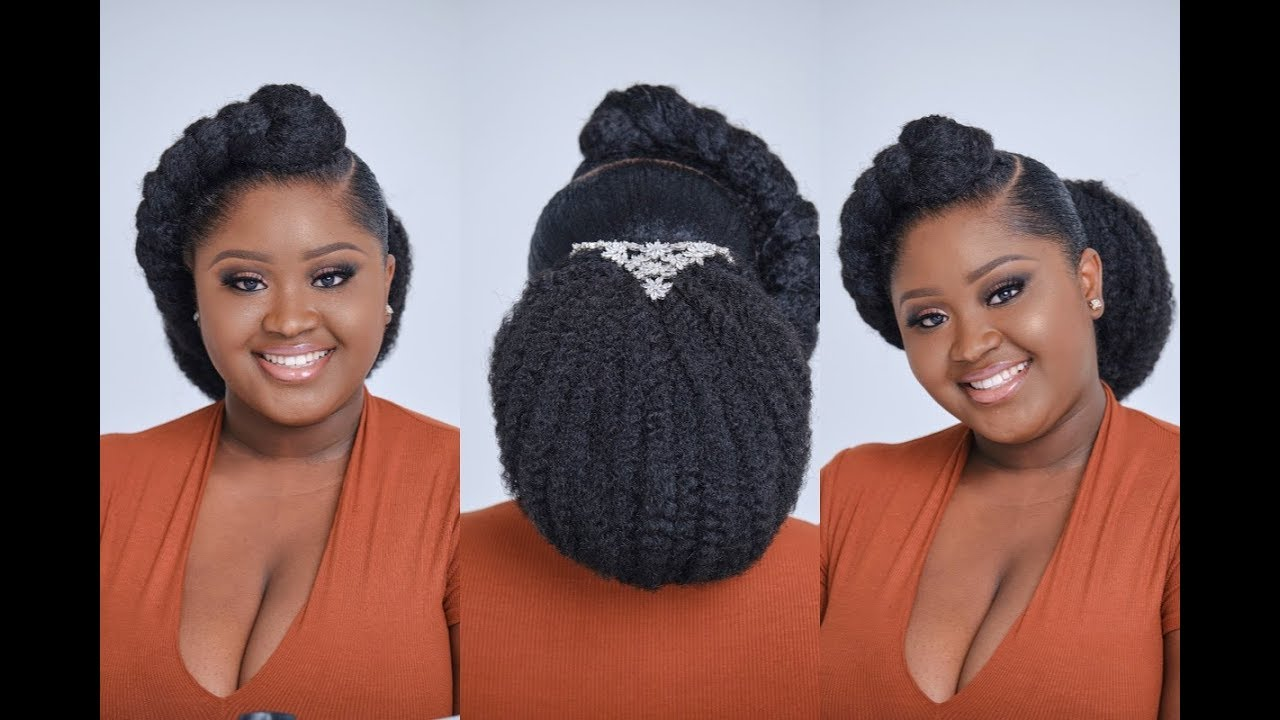 How To Create Natural Hairstyle For Brides Bridal Updo For Natural Hair Bride Tutorial Youtube