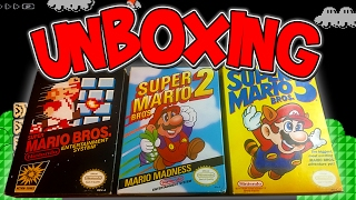 UNBOXING Super Mario Bros. 1,2, & 3 | NES Retro Games