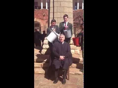 King Edwards VII School headmaster, David Lovatt taking the ALS Ice Bucket Challenge.