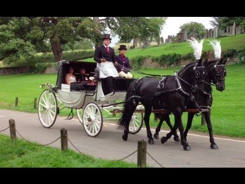 Horse Drawn Carriage at a English Wedding - St Mary's Church, Tissington. Derbyshire, UK.