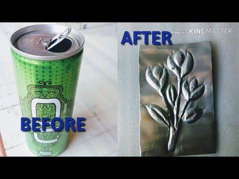 DIY Make beautiful Aluminum embossing out of old tin | Best out of waste art| Aluminum embossing