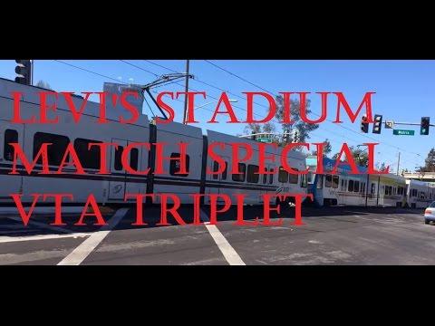 Levi's Stadium Football Special VTA Triplet Light Rail || Superbowl 2016