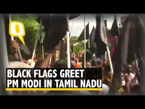 PM Modi Welcomed With Black Flags in Tamil Nadu
