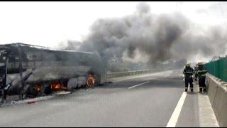 شاهد.. نجاة 46 راكباً من الموت حرقاً في حافلة