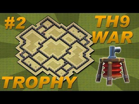 Best town hall 9 th9 trophy war base design air sweeper 4 mortars