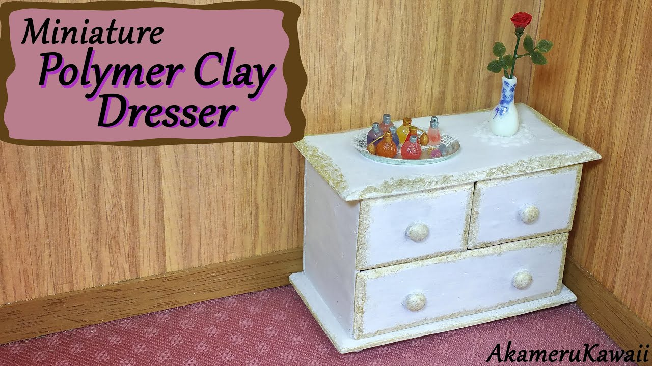 Miniature Polymer Clay Dresser Chest Of Drawers
