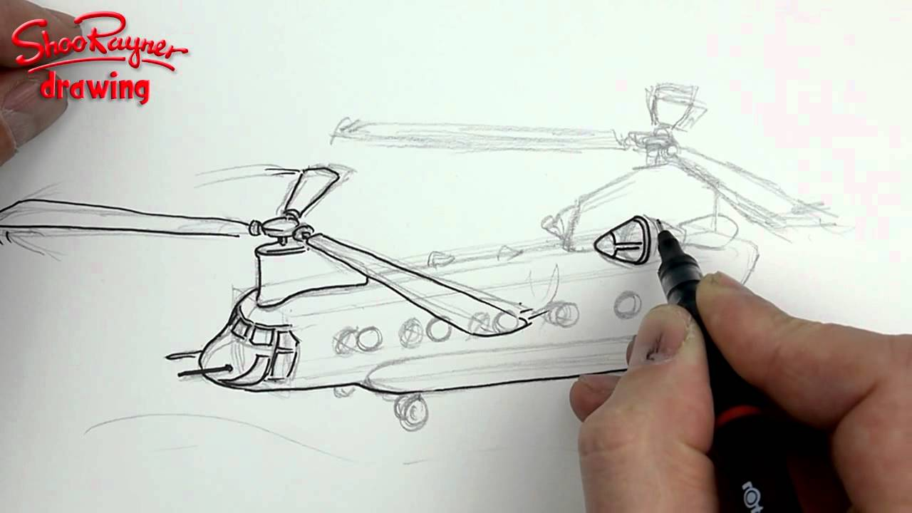 how to draw a chinook helicopter boeing ch 47 [ 1280 x 720 Pixel ]