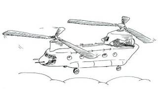 How to draw a Chinook Helicopter - Boeing CH-47