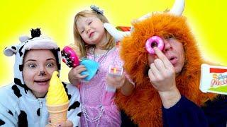НастяПлей и папа играют в магазин мороженого