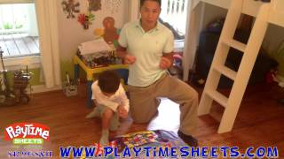 Childrens Bedding - Father explains how to play Playtime Bowling using Playtime Sheets.