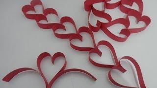 Tirinha/ cortininha de corações de papel - Tutorial