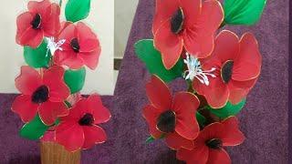 how to make flower by using nylon stocking.জবা ফুল তৈরি করুন। R-han creation