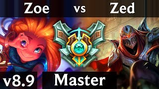 ZOE vs ZED (MID) ~ Legendary, Perfect KDA 15/0/5 ~ Korea Master ~ Patch 8.9