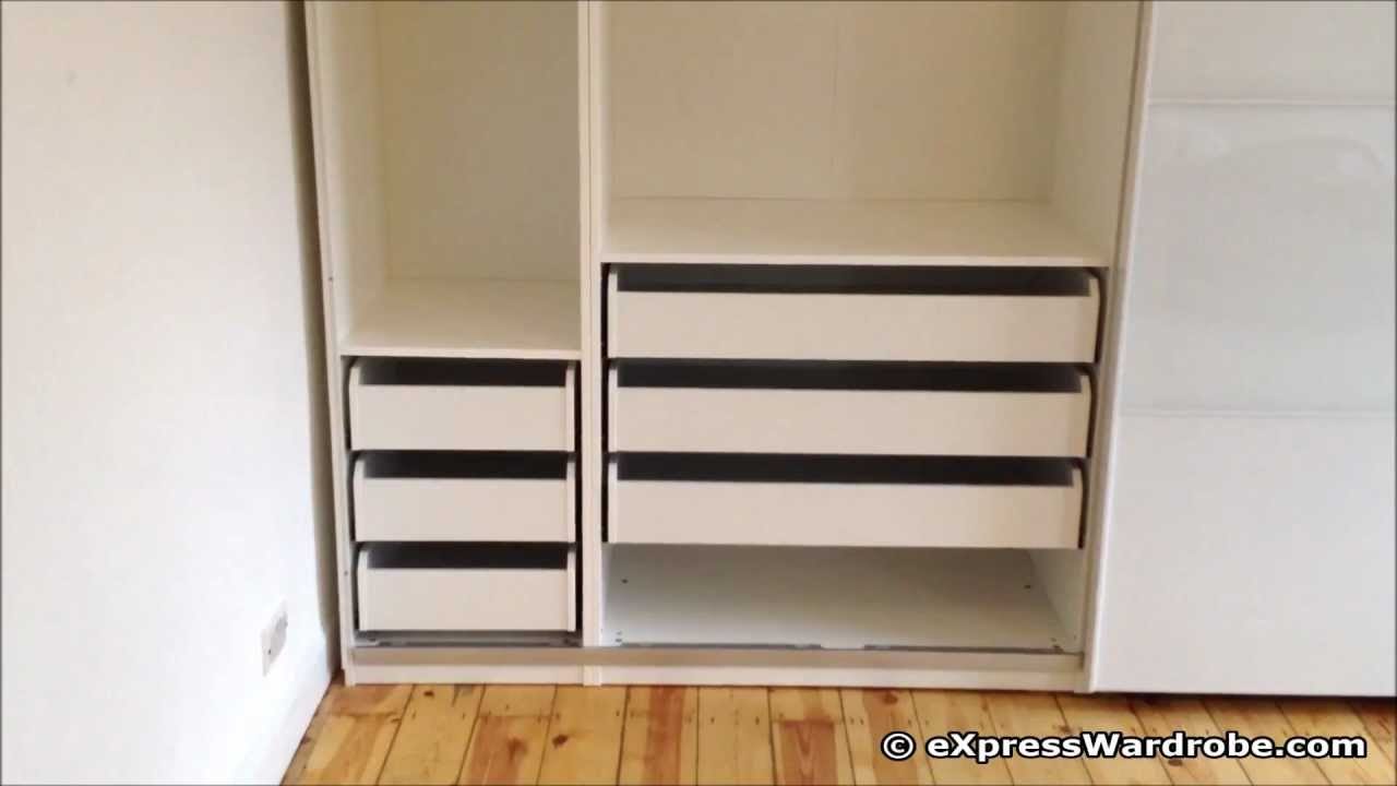 Ikea pax tonnes sliding door wardrobe design youtube for 4 door wardrobe interior designs