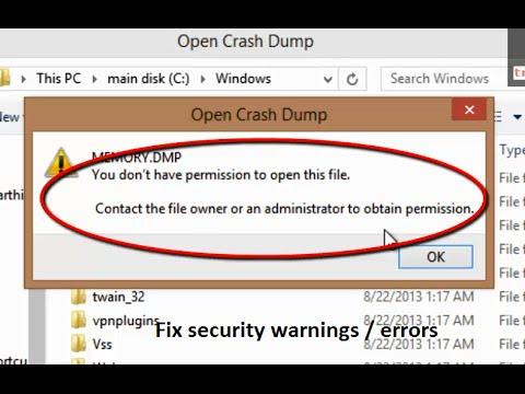 How to fix you don't have permisison to open this file Contact the file owner warning Windows 8.1