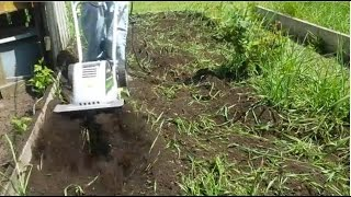 Earthwise Electric Tiller Cultivator 11-Inch 8.5-Amp Corded TC70001 Review and Demonstration.
