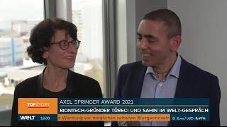 """Özlem Türeci und Ugur Sahin (BioNTech) exklusiv auf WELT Nachrichtensender: """" Die Impfungen werden d"""
