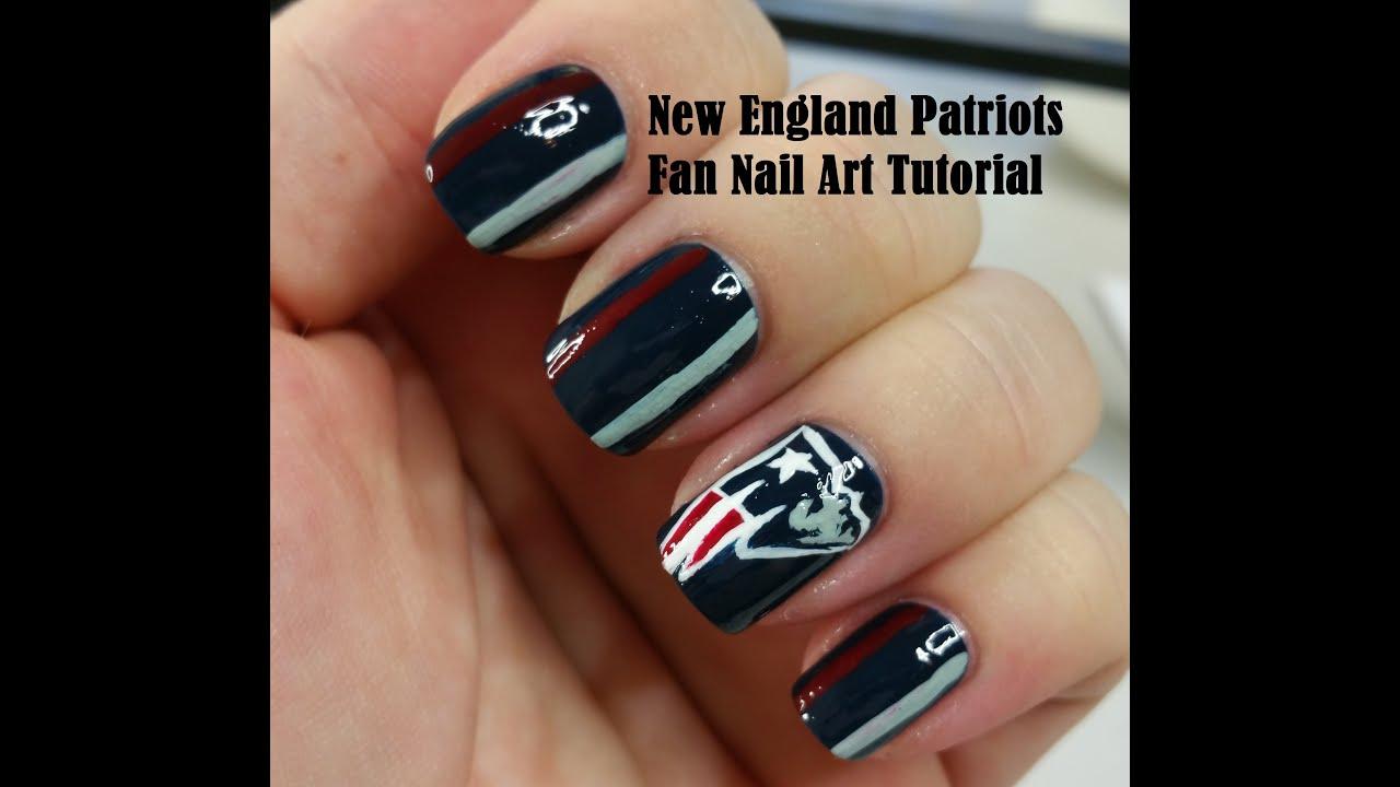 New England Patriots Fan Nail Art Tutorial - YouTube