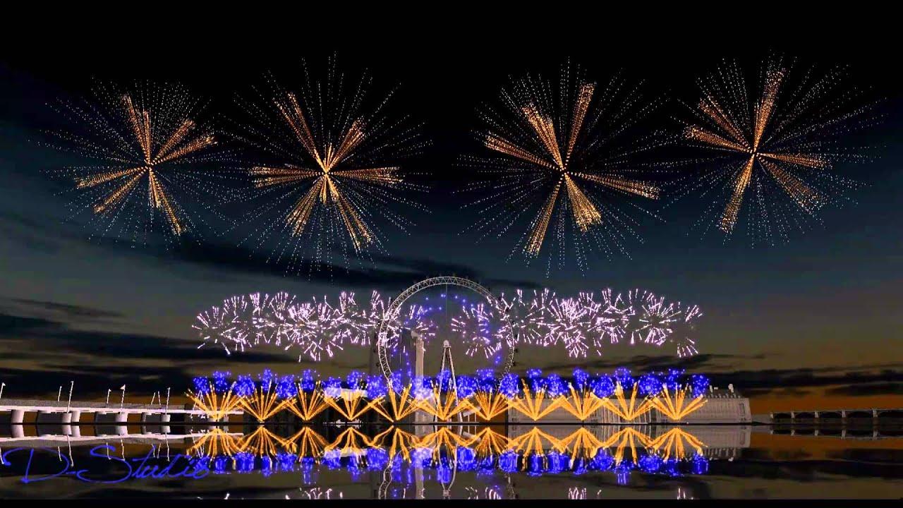 HD London Fireworks 2016 - New Year\'s Eve Fireworks - Showsim 3D ...