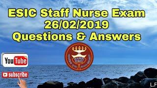 ESIC Staff Nurse Recruitment 26/02/2019 Answer Key