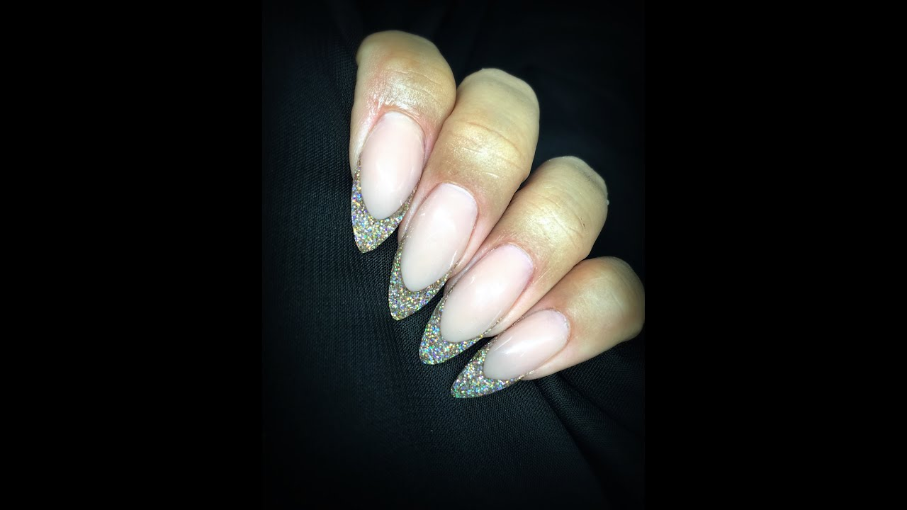 Champagne Glitter Almond French! | Sculpted Reverse Acrylic Method ...