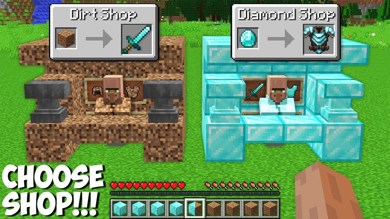 Which SHOP TO CHOOSE in Minecraft ? DIAMOND SHOP VS DIRT SHOP !