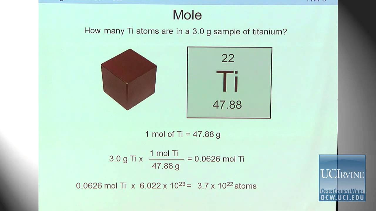 preparation for general chemistry 1p lecture 11 mole and molar mass