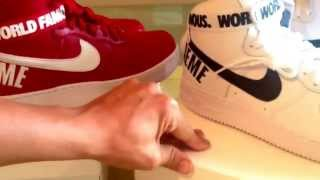 unboxing supreme nyc x nike air force 1 af1 high red white pair