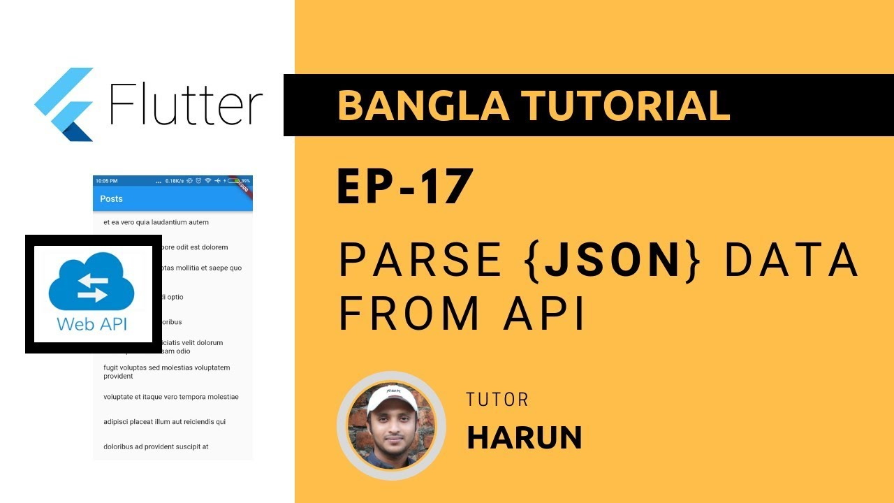 Flutter Tutorial 17 - Parse JSON data from API [Bangla]
