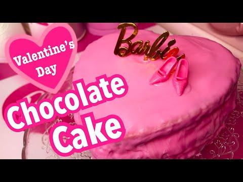 [COOKING]PINK HEART CHOCOLATE CAKE♡AZUSA BARBIE