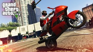 AWESOME MOTORBIKE STUNT! - (GTA V Stunts & Fails)
