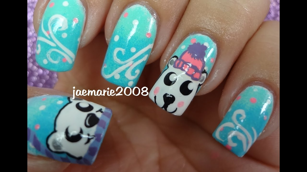Polar Bears Winter Nail Design Requested Youtube