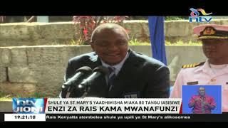 Rais Uhuru akumbuka enzi zake shuleni kwa kuvalia sare za St. Mary's