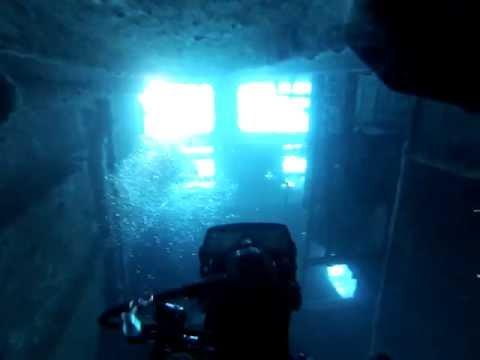 "Saba Banks diving the ""Ghost Ship"""