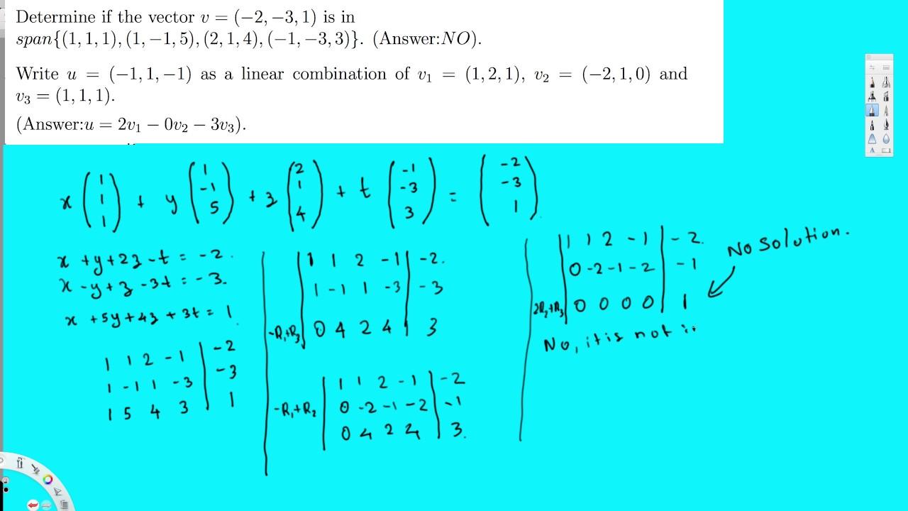 write u as Linear Combination of vectors - Linear Algebra