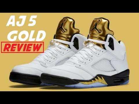 36b35d6eccb Air Jordan 5 Gold Medal Coin Olympic Retro Sneaker Detailed Look ...