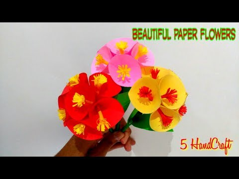 HandCraft l Very Easy How to make beautiful paper flowers
