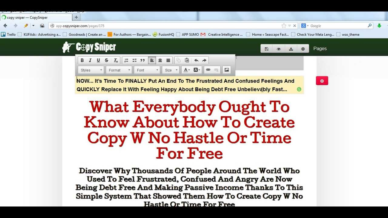 Copysniper Best Copywriting & Sales Page Creation Software Tool Demo Video