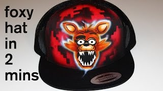 five nights at freddy's foxy hand painted hat airbrush gamer fan video