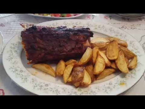 Low Carb Meal Pork Back Ribs, Garden Salad, Home Fries
