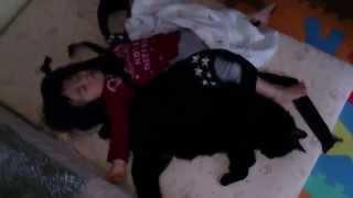 くろネコと赤ちゃんのお昼寝です.