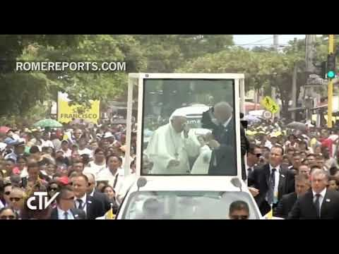 Pope Francis hits himself against the popemobile and injures his cheekbone and left eyebrow