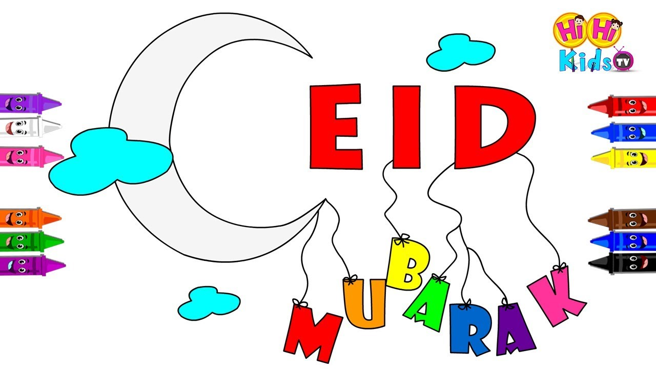 Eid coloring page for kids eid mubarak wishes ramadan eid greetings ramjan eid 2018