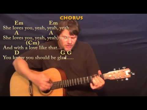 She Loves You (Beatles) Guitar Cover Lesson with Chords/Lyrics