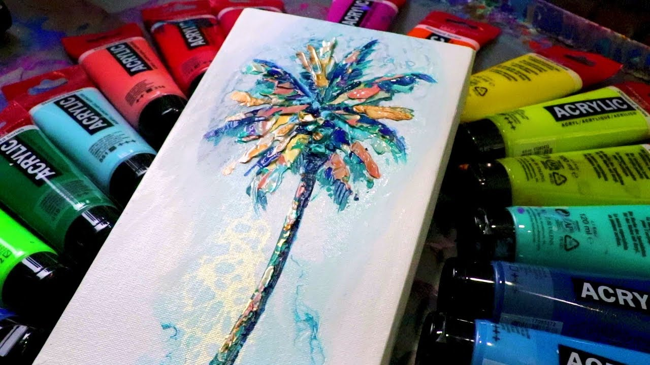 Easy Abstract Palm Tree Painting Palette Knife 365 Daily Challenge 005 Youtube