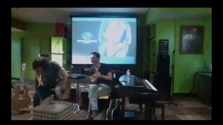 Gary Lightbody of Snow Patrol with Producer Johnny McDaid at the BGCV Music Studio