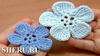 Crochet 5-Petal Flower  Урок 49 Часть 2 из 2 Вязание цветка крючком