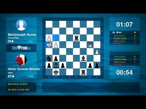 Chess Game Analysis: Markjoseph Nunez - Amar Suresh Shinde : 0-1 (By ChessFriends.com)