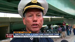 Downtown Cincinnati homeless camp to be cleared out by week's end
